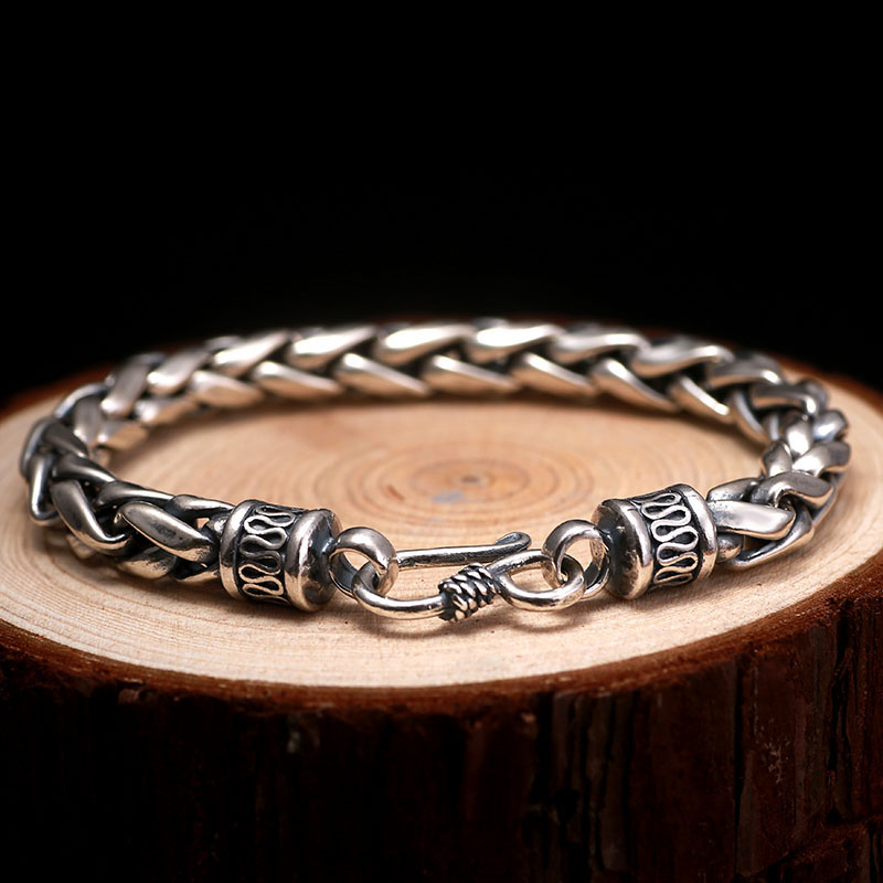ZABRA 925 Pulsera de plata esterlina para hombre Líneas de trigo - Bisutería - foto 4