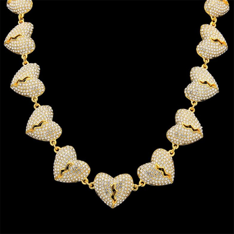 HipHop Jewelry Necklace Gold/Silver Color Full drill broken heart Pendant Necklaces With 47cm Rope Chain