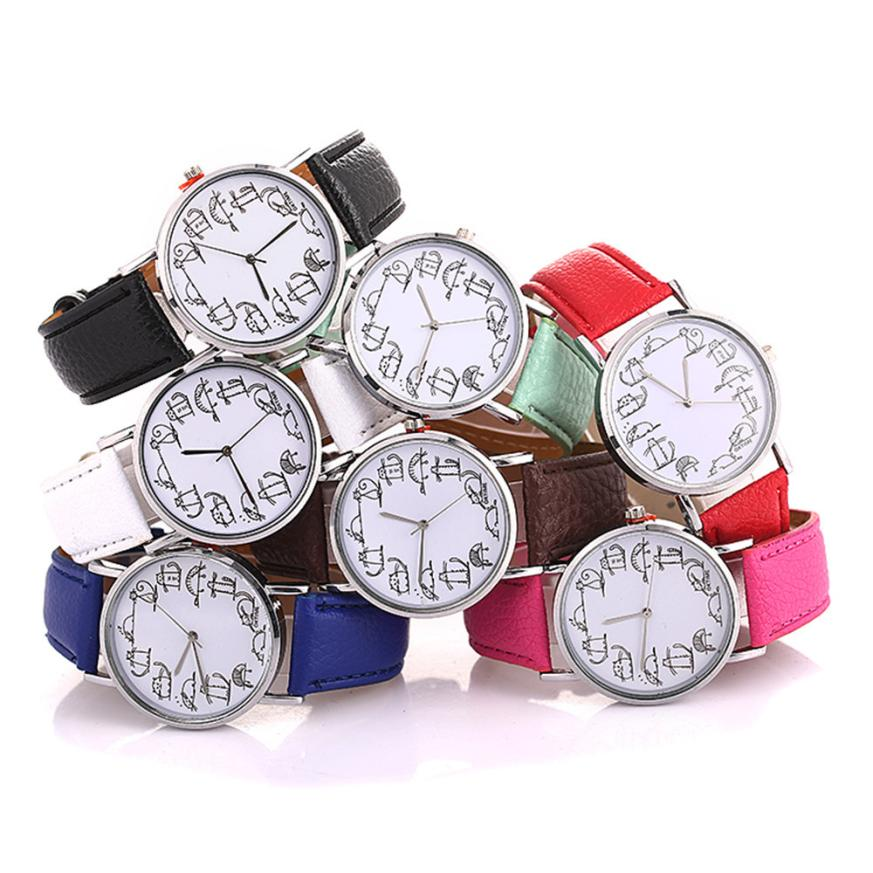 2018 Leather Stainless Steel Luxury Beautiful Ladies WristWatch Women's Fancy Unisex Chemical Element Casual Faux Hand Clock #D
