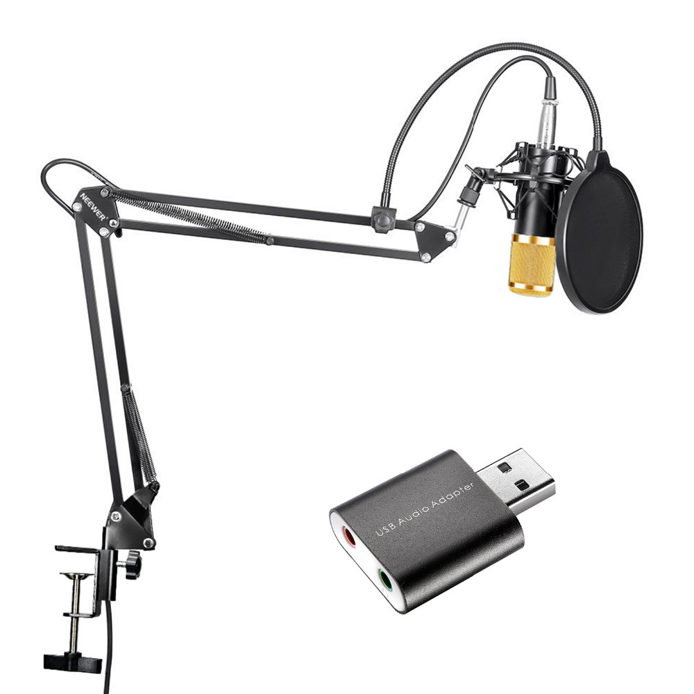 Neewer Studio Broadcasting Recording Condenser Microphone+Adjustable Suspension Scissor Arm Stand+USB 2.0 External Sound Card