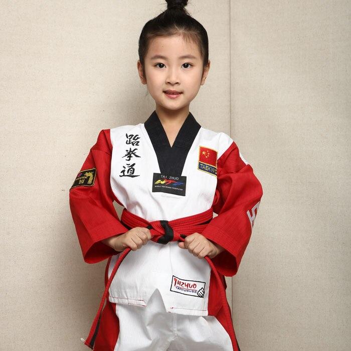цена на New high quality Taekwondo dobok TKD cotten & bamboo fiber Uniform WTF series of children Kids Taekwondo Long sleeve clothes