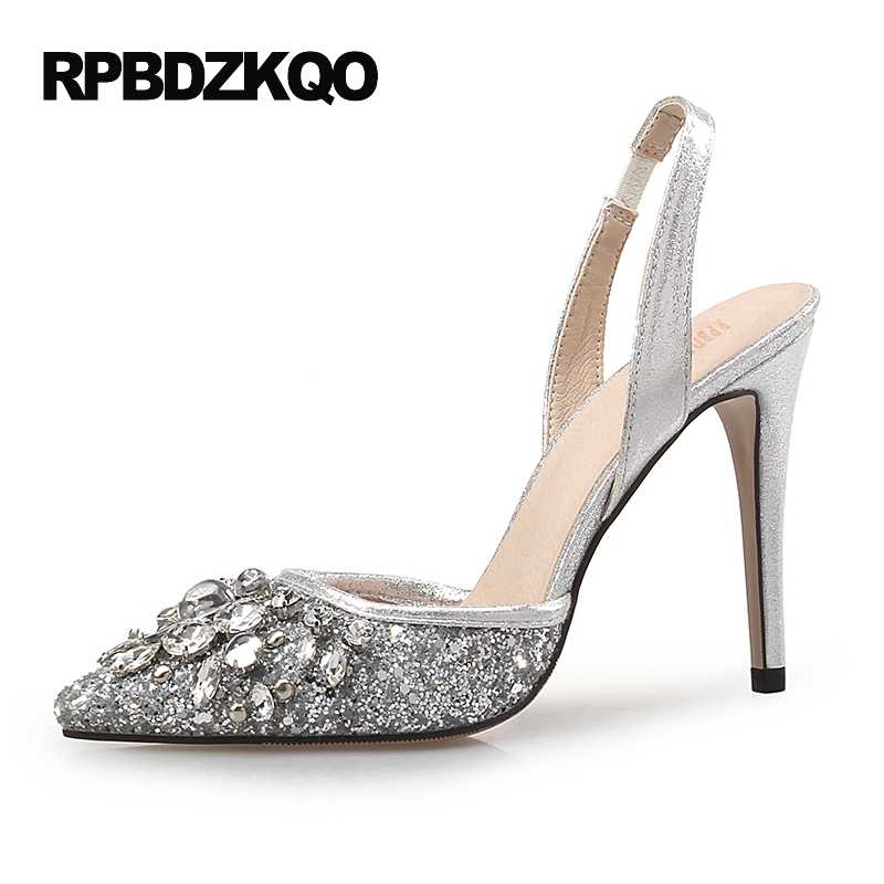 Sparkling Rhinestone Ultra 12 44 Pumps Scarpin Gold Slingback Heels Shoes  Silver Plus Size High 33 92682aaa9445