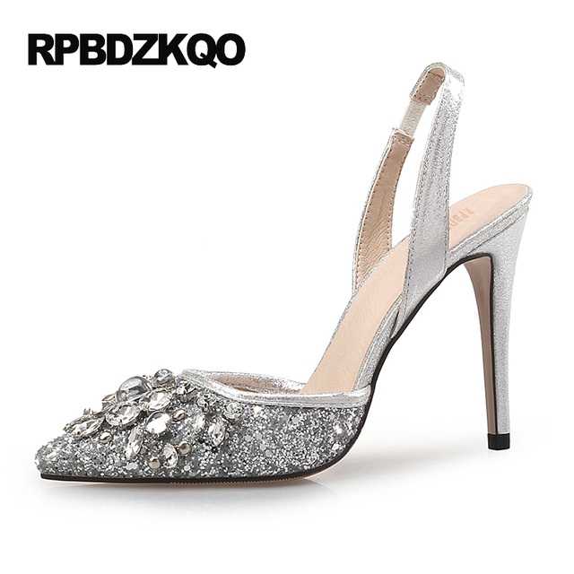 スパークリングラインストーン超12 44パンプスscarpinゴールドスリングバックハイヒール靴シルバープラスサイズ高33尖ったつま先夏レディース