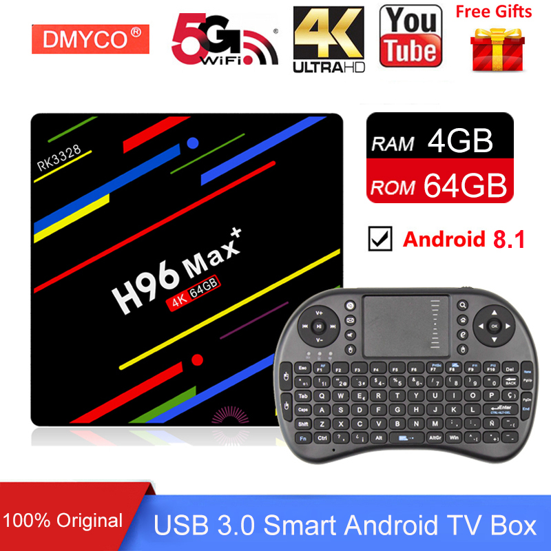 H96 MAX + Plus Android 8.1 TV Box 4GB RAM 64GB ROM Set Top Box RK3328 2.4G/5G Wifi 4K H.265 USB3.0 H96 Pro Smart TV Media Player цена 2017