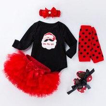 Christmas Girl Santa-Claus Headband Romper Newborn-Set Baby-Girl My First 5pcs Shoe Tutu-Skirt