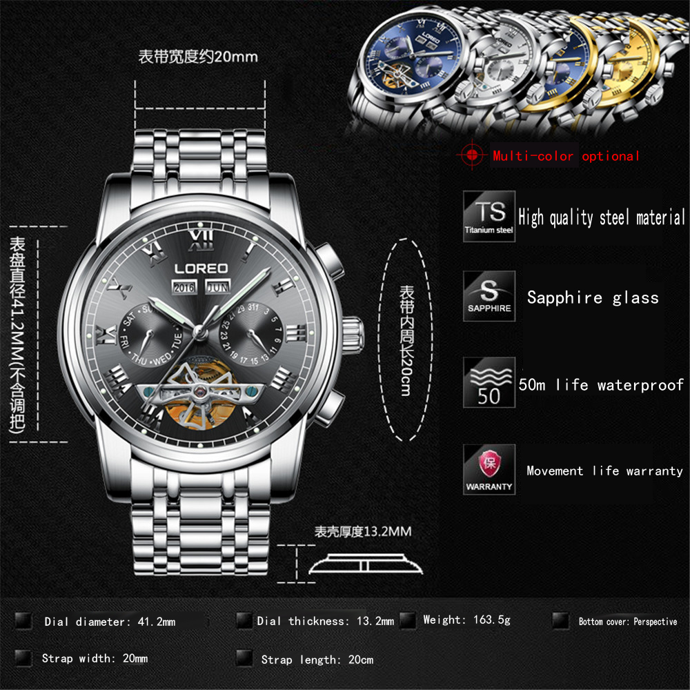 2019 marque de luxe LOREO Tourbillon montres hommes montres mécaniques saphir étanche 50m mode hommes montre heures Relogio - 4