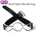 PU Leather Steel Butterfly Open Mouth Gag Bdsm Sex Ring O Gag Adult Products  Fetish Sex Toys For Women Flirting Sex Toys