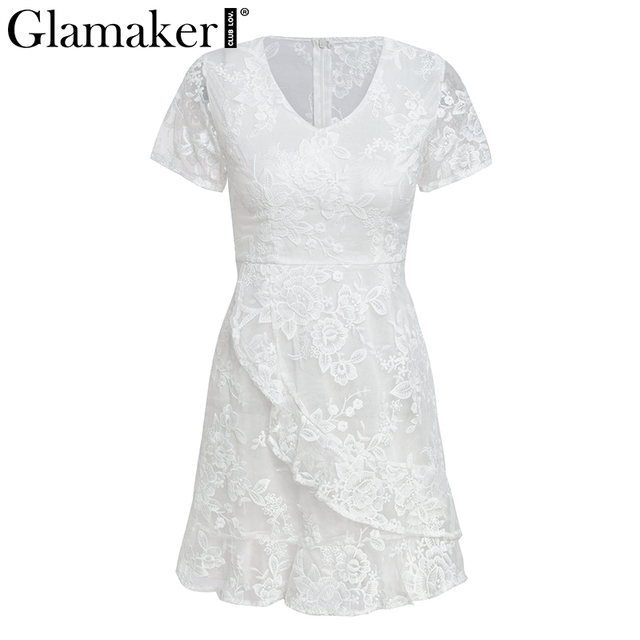 Glamaker floral Dress Glamaker White lace v neck ruffle sexy dress Women mesh transparent bow  sash mini dress Floral mermaid club winter dress 2018