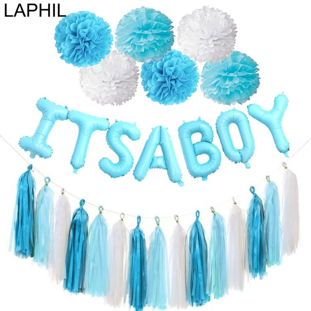 LAPHIL Oh Baby Its a Boy Foil Balloon Baby Shower Banner Blue Latex Balloons Babyshower Decoration