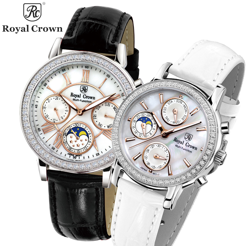 Real Multi-functions Royal Crown Women's Watch Japan Quartz Hours Fine Fashion Lady Clock Leather Luxury Rhinestone Gift Box
