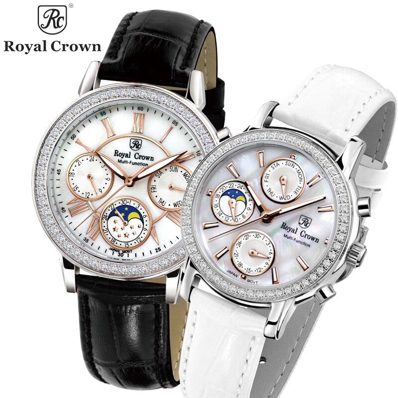 Real Multi functions Royal Crown Women's Watch Japan Quartz Hours Fine Fashion Lady Clock Leather Luxury Rhinestone Gift Box