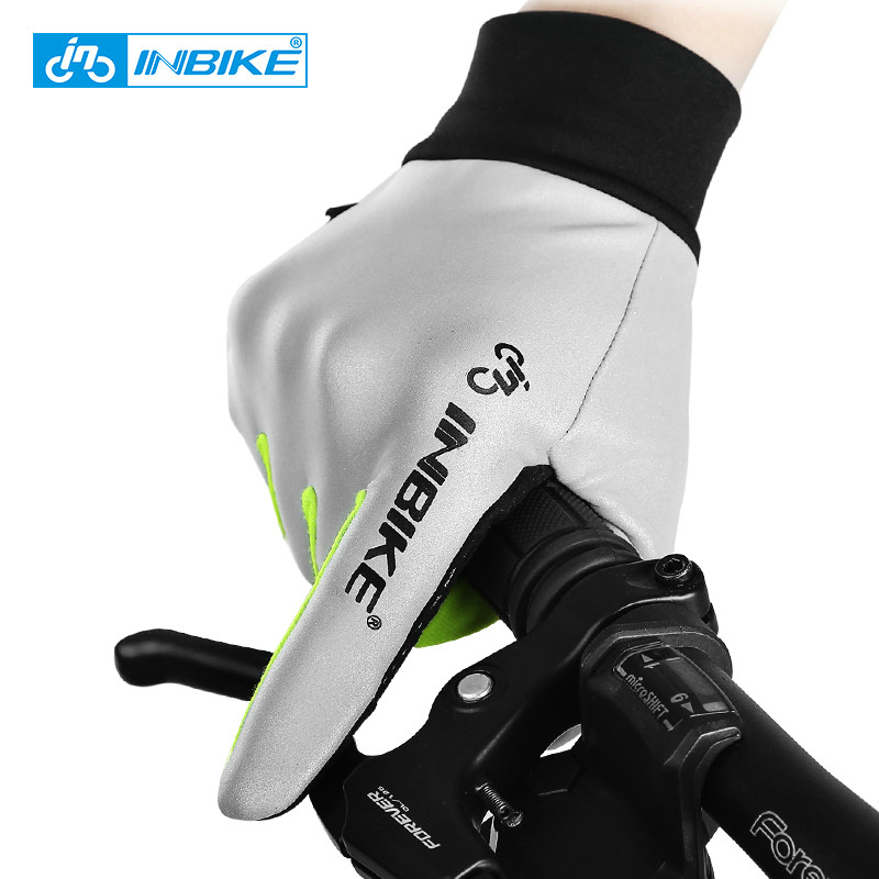 цена INBIKE Cycling Gloves Men Full Finger Reflective Bike Gloves Touch Screen Fingertip Anti-slip Gel Palm Cycling Accessory GL413R
