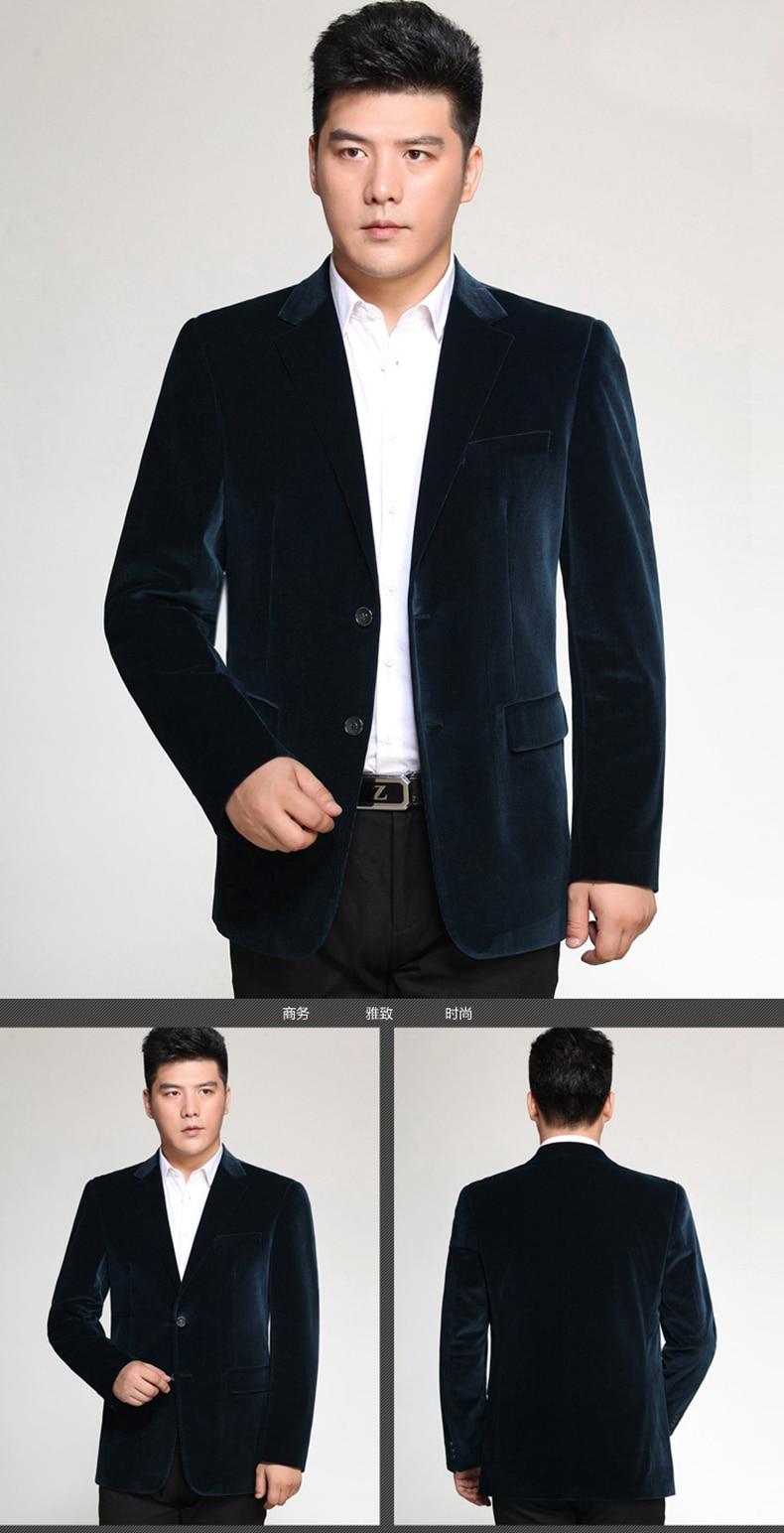 WAEOLSA Men Striped Velvet Blazers Elegant Plain Color Suit Coats Man Wool Blazer Hombre Corduroy Suit Jackets Red Navy Blue Uniform (10)
