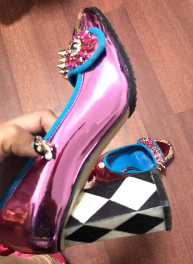 style Cuadros Cuadrado 3 9 Alto Retro Espejo Cuero Señoras 1 style Cm De Mujer Chunky Tacones Las Tacón Cristales Pendientes 2 Style Zapatos Bvwq1wz
