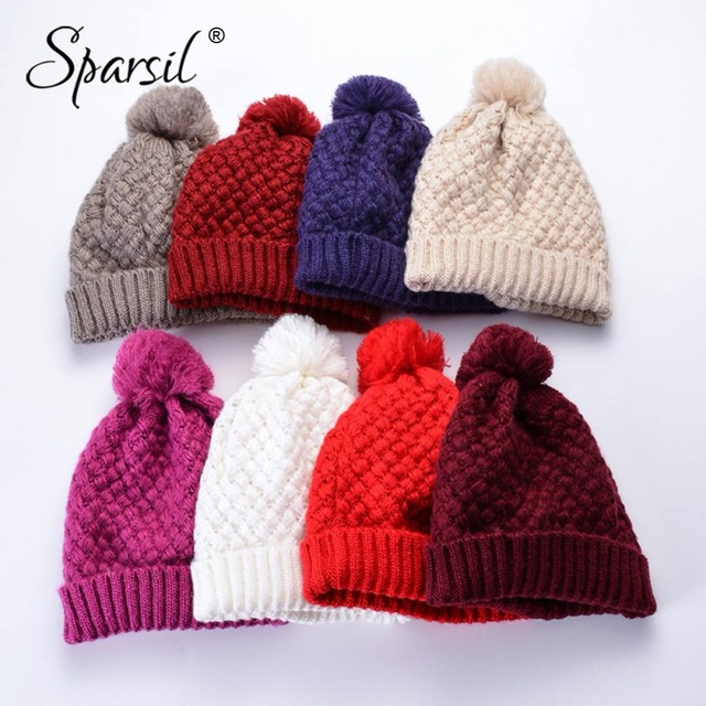 be93eb7a7 US $4.57 45% OFF|Sparsil Men Women Winter Knitted Hats Fleece Beanies+Cute  Hairball Plaid Crochet Hat Thick Unisex Soft Elastic Warm Cap Skullies-in  ...