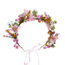 HIYONG 2019 Romantic Floral Headband Baby Wedding Flower Crown Hair Accessories