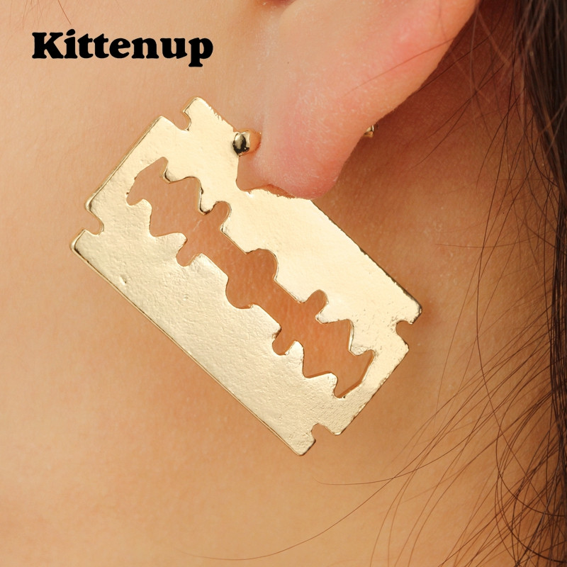 Kittenup New Hot Sell Unisex Blade Hollow Out Geometric Stud Earring For Men Women Charm Jewelry Trendy Simple Accessories