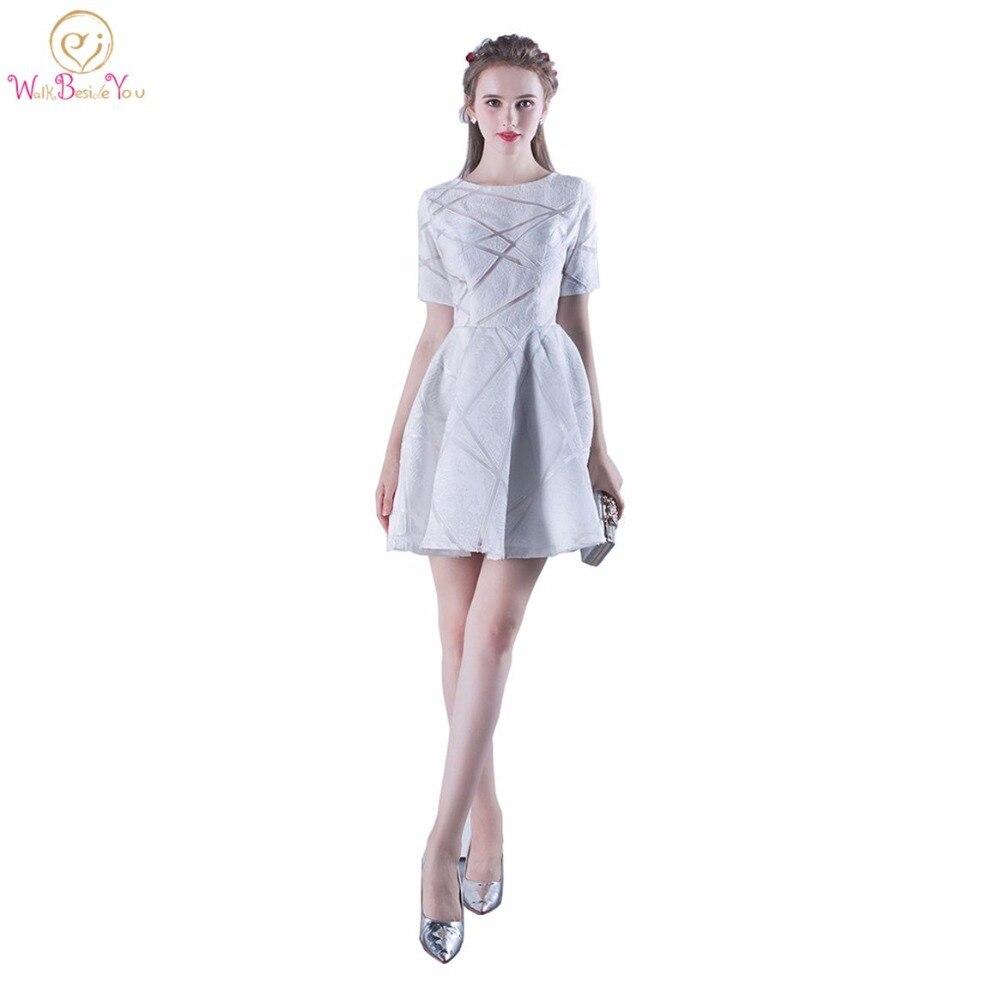 Tanpell long prom dress white scoop 3/4 length sleeves floor length ...