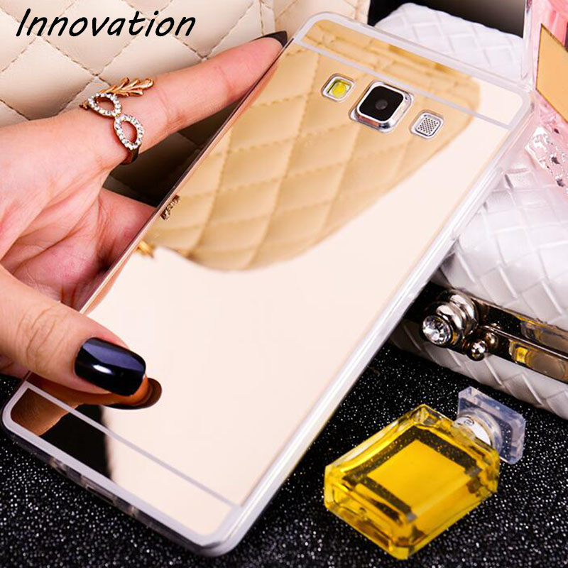 Innovation Luxury Plating Mirror Soft TPU Silicon Case For Samsung Galaxy A3 A5 A7 2016 2017 J3 J5 J7 S5 S6 S7 Edge Phone Cover in Fitted Cases from Cellphones Telecommunications