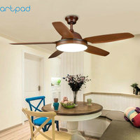 Artpad 36W Dimmer American Creative LED Ceiling Light Fan AC220V Remote Control Fan Lamp for Living Room Kitchen Bedroom Fixture