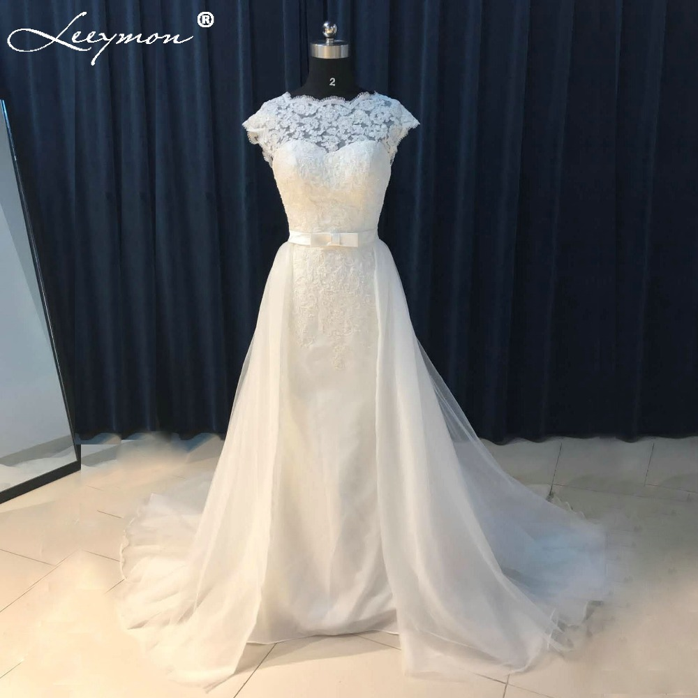 Bridal Dress With Detachable Train: 2018 Vintage White Mermaid Wedding Dress Lace Backless