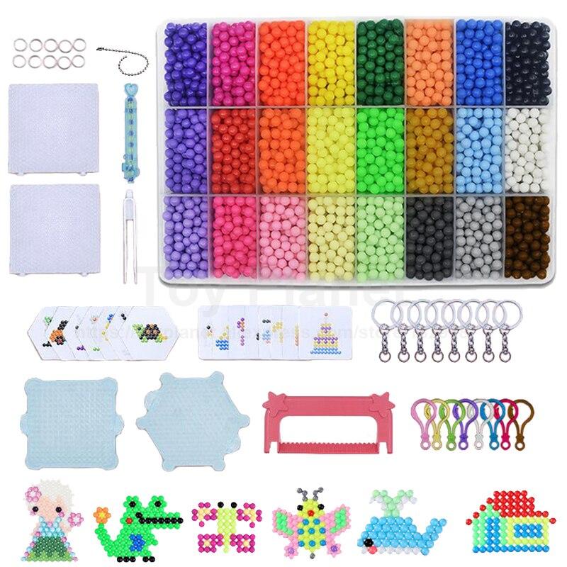 24 Colors 5500pcs Agua Beads Set With Accessories Magic Perler Beads Aqua Spray Bead Perlen 3D Puzzles Children Educational Toys