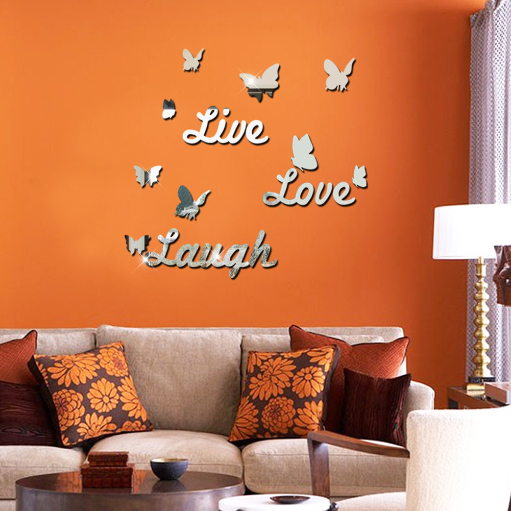 Live Love Laugh Mirror Sliver 3d Butterfly Wall Stickers Party Wedding Decor Diy Home Decorations Acrylic Wallpaper Sticker In Wall Stickers From Home