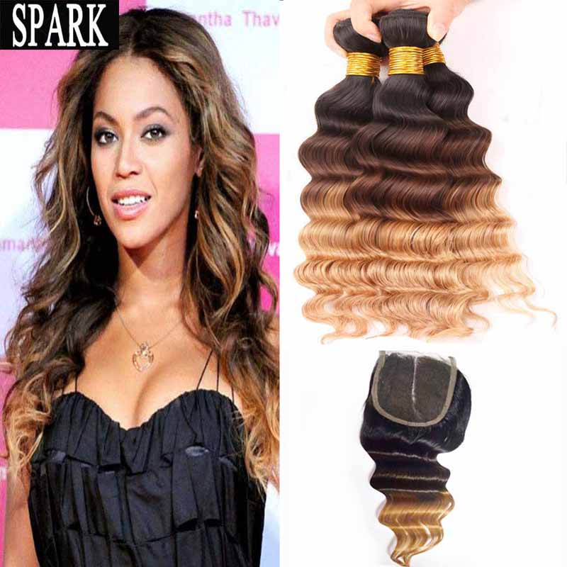 7A Brazilian Virgin Hair With Closure Deep Wave With Lace Frontal Closure Ombre Human Hair Bundles Lace Front Human Hair Wigs