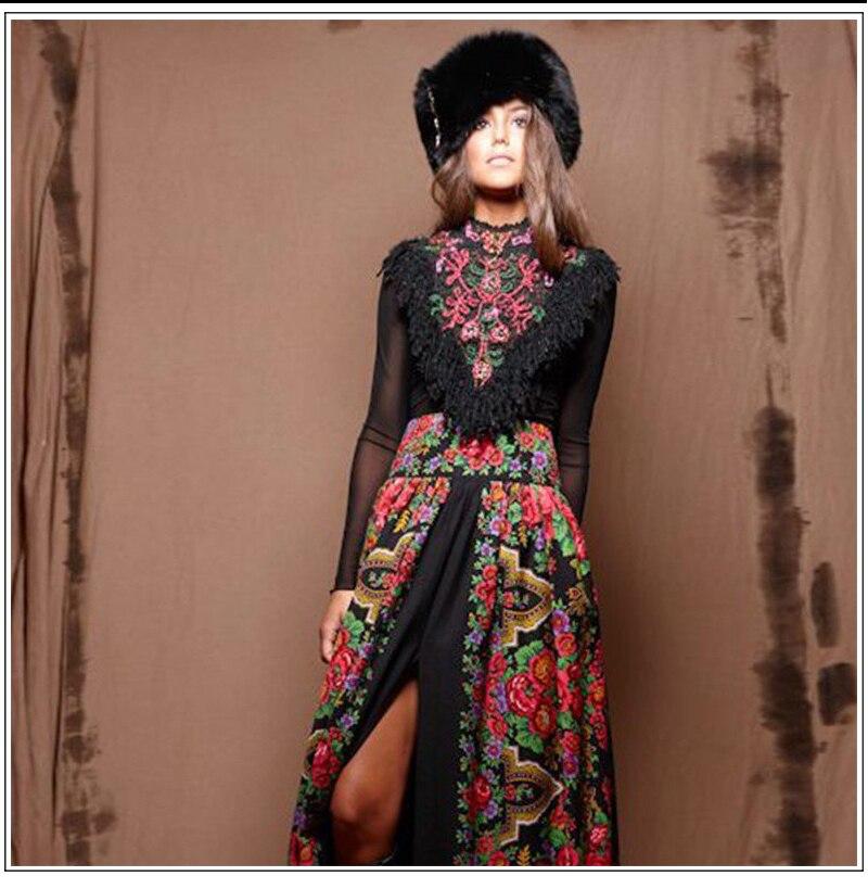 2018 Elegant European Lady Spring Long Sleevace Patchwork Maxi Long Bohemian Dress Womens Russian Runway Dresses Plus Size XXXL
