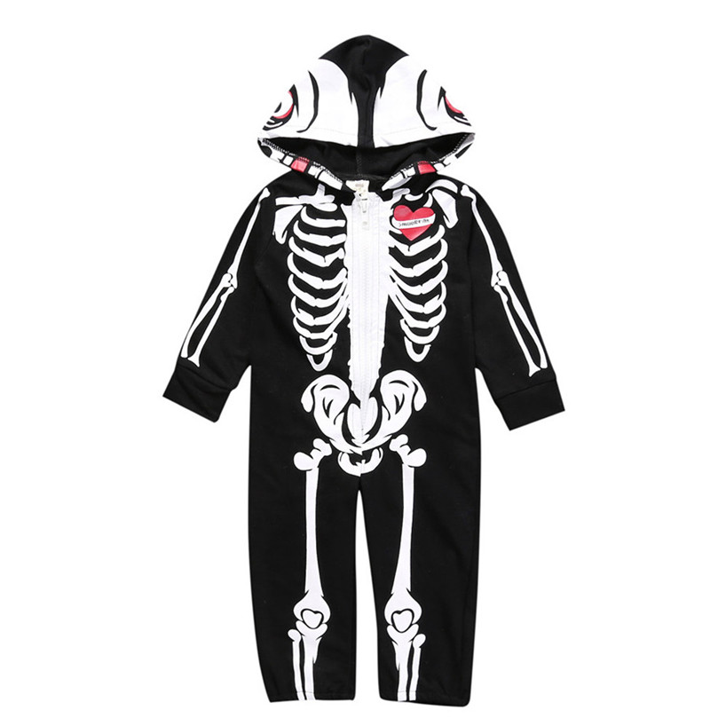 ARLONEET Toddler Infant Baby Boy Hooded Skull Skeleton Romper Jumpsuit Outfits Clothes F ...