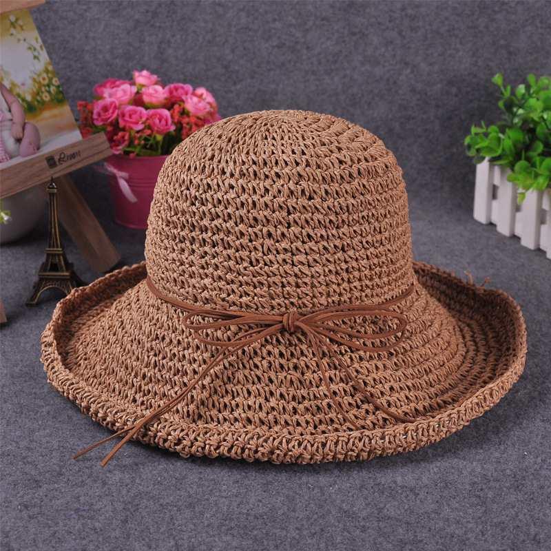 New Summer Style Womens Fashion Khaki Straw Hat Sun Hat Folding Travel Beach Cap Accessory