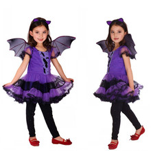 M-XL Free shipping Halloween Costumes for Children Kids Girls Vampire Batman Costume Cosplay Fantasia Disfraces game uniforms