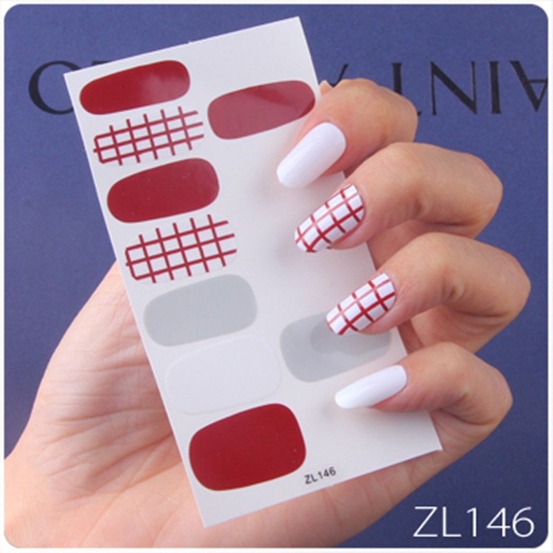 1 Sheet Fashion Nails Striped Lattice Nail Art Sticker 14 Tips Full Cover Wraps Adhesive Nail Sliders Manicures Tool ZL Series in Stickers Decals from Beauty Health
