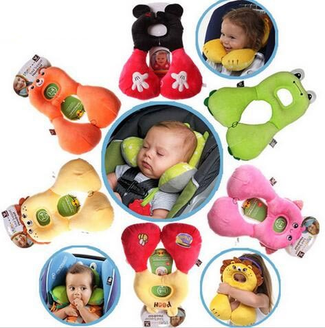 Baby Soft Sleeping Safety Car Seat Baby Stroller Headrest U-shaped Travel Pillow Cover Kids Cartoon Toys Baby Cushion Pillow
