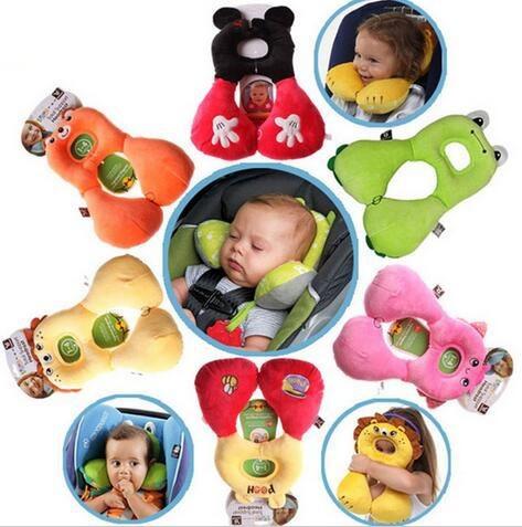 Macia do bebê Carrinho de Assento De Carro da Segurança Do Bebê Dormindo Encosto De Cabeça U-em forma de Travesseiro de Viagem Almofada Tampa Dos Desenhos Animados para Crianças Brinquedos Do Bebê travesseiro