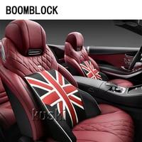 BOOMBLOCK 1pcs Car Back Seat Cushion Flag Pattern For Mini Cooper R56 R50 R53 F56 F55 R60 R57 Bmw E46 E39 Audi A3 A6 C5 A4 B6