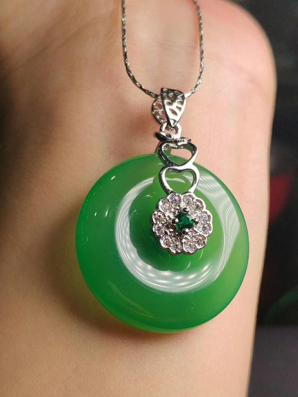 Koraba S925 argent incrusté naturel vert Jade pendentif collier chandail chaîne ornements de mode