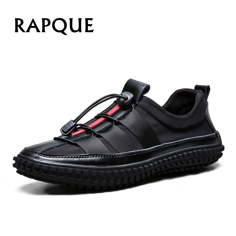 Men's Shoes Men's Casual Shoes Symbol Of The Brand Black Men Casual Shoes Leather Sapatos Match Fabric Moccasins Designer Sneakers Fashion Sapatos Mens Slip-on Breathable Rapque Lustrous