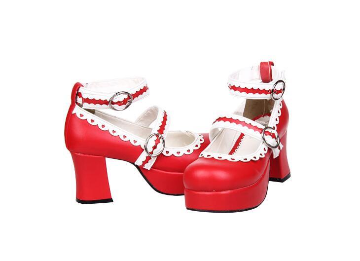 5 Mujer red blanco Cosplay Altos Lacework 7 Mujeres Partido Lolita Negro Impresión Tacones Zapatos Señora Bombas 47 Princesa Mori Angelical Chica Cm Vestido 33 HxFWw5Bq