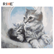 RIHE Cute Cat Diy Painting By Numbers Animal Oil On Canvas Hand Painted Cuadros Decoracion Acrylic Paint 40X50CM Gift