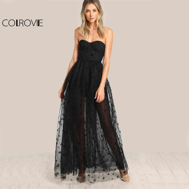 COLROVIE Black Sexy Bustier Party Dress Star Flock Cute Women Mesh Overlay  Maxi Summer Dress Strapless 95d6e6640
