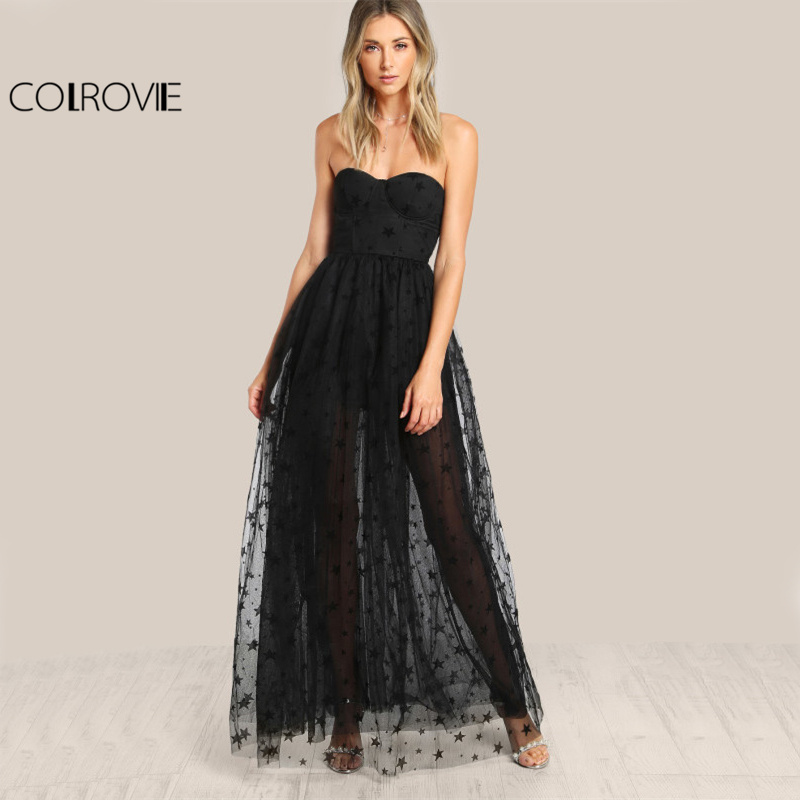 COLROVIE Black Sexy Bustier Party Dress 2017 Star Flock Cute Women Mesh Overlay Maxi Summer Dress Strapless Sheer Cut Out Dress