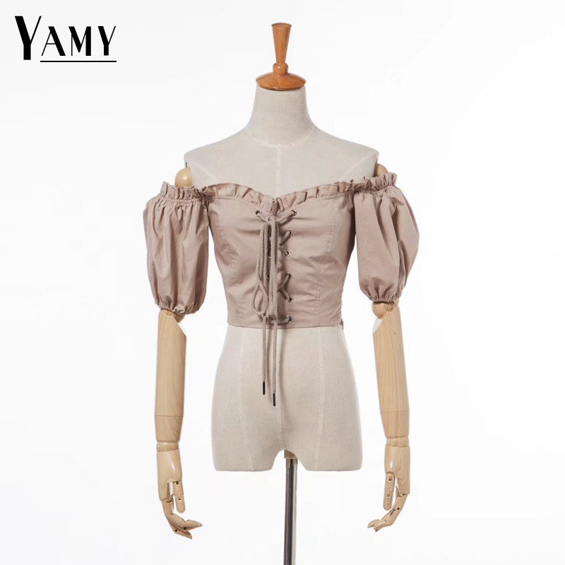 Crop top women ruffle blouse womens tops and blouses shirts white black short sleeve summer top korean fashion clothing