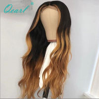 Ombre Color With Honey Blonde Highlights Human Hair Front Lace Wigs for Women Deep Middle Part Peruvian Remy Wavy Hair Qearl