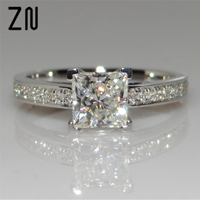 ZN Classical Cubic Zirconia Forever Wedding Rings Rose Gold Color Solitaire Rhin