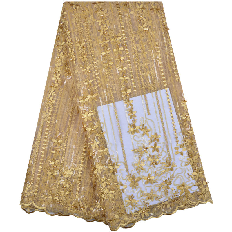 Bridal Nigerian Lace Fabric Sequins Material Gold Lace Fabric High Quality African Lace Fabric Beads Mesh
