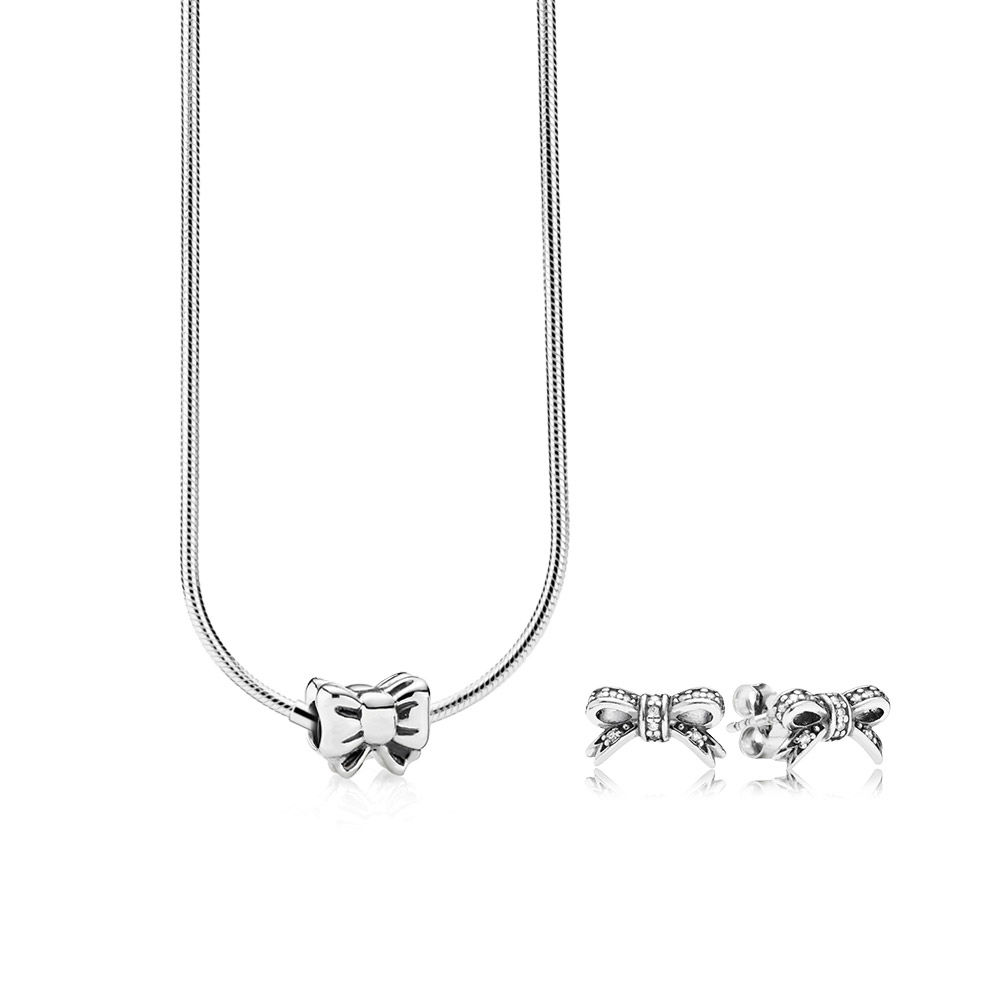 100% 925 Sterling Silver SALE - BOW NECKLACE AND EARRINGS SET Fit Charm Original Necklace Jewelry A set of prices цена 2017