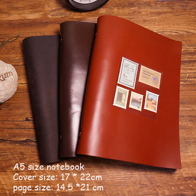 A5 size handmade travel journal genuine leather notebook 3 color filler kraft paper free imprint name school supplies notebook standard a4 genuine black leather cover notebook handmade loose leaf kraft line page paper imprint leather monogram notebook