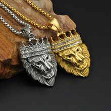 HIP Hop Full Rhinestone Gold Color Titanium Stainless Steel Iced Out Bling Lion Head Pendants Necklaces for Men Jewelry