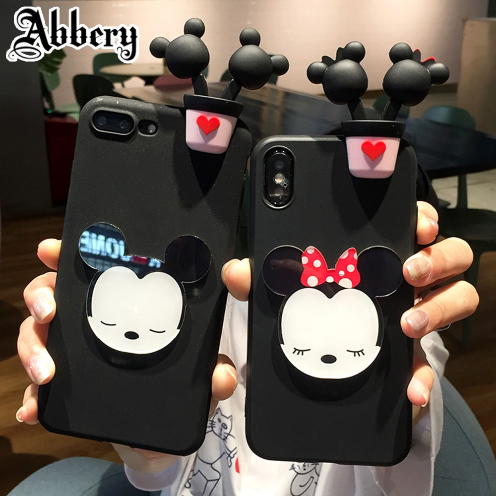 Abbery Cute 3D Mickey Minnie Mouse Cartoon Coque Soft Phone Case for iPhone X 7 8 6 6S Plus 5 5S SE Back Cover Coque Funda Cases